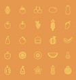 fruit line color icons on orange background vector image