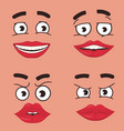 funny faces set cartoon comics face expressions vector image
