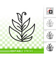 grass simple black line icon vector image vector image