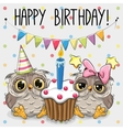 Greeting card two cute Cartoon Owl vector image vector image