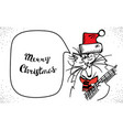 hand drawn singing merry christmas cat isolated vector image vector image