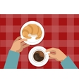 Hands Holding Croissant And Coffee vector image vector image