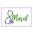 lovely 8 march holiday design template with crocus vector image vector image