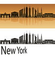 New York skyline in orange vector image vector image