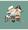 Old sailor sitting on bench with his beloved vector image vector image