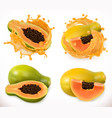 papaya juice fresh fruit 3d icon set vector image