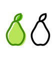 pear icon and their contour line art vector image