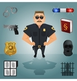 Policeman character with icons vector image