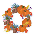 pumpkin and floral wreath decor autumn vector image vector image