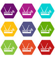 router icons set 9 vector image vector image