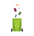 rubbish green container with batteries waste and vector image vector image