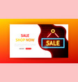 sale shop now neon landing page vector image vector image