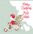 santa on a scooter with a christmas tree and gifts vector image vector image