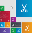 Scissors icon sign buttons Modern interface vector image