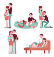 set of happy family couple vector image vector image