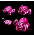 Set pink cute octopuses on a black background vector image