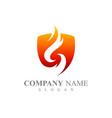 shield fire letter s emblem badge logo template