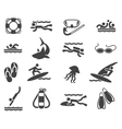 swimming and scuba diving icons vector image vector image