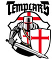 templar knight mascot vector image vector image