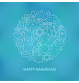 Thin Line Jewish Happy Hanukkah Holiday Icons Set vector image vector image