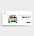 upset driver after car accident on road landing vector image vector image