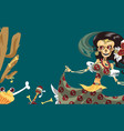 woman skeleton in mexican costume dancing poster vector image vector image