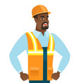 young african-american angry builder screaming vector image vector image