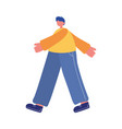 young man walking character carton isolated icon vector image