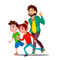 Young sport family with children running