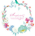 watercolor round frame flowers vector image