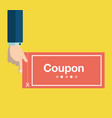 business hand holding red coupon discount coupon vector image