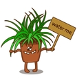 Cartoon flower in a pot with a sign vector image