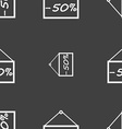 50 discount icon sign Seamless pattern on a gray vector image vector image