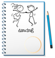 A notebook with a sketch of a girl and a boy vector image vector image