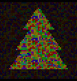 abstract colorful christmas tree of pixels vector image vector image