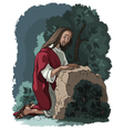 agony in the garden jesus in gethsemane vector image vector image