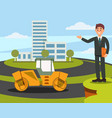 architect or sales manager presenting new building vector image