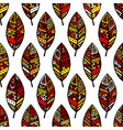Autumn colored ethic mexican leaf seamless pattern vector image vector image