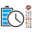 battery time icon with valentine bonus vector image