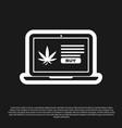 black laptop and medical marijuana or cannabis vector image vector image