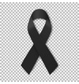 black mourning ribbon on transparent background vector image vector image