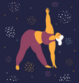 body positive woman is stretching in space vector image vector image