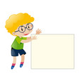 boy with curly hair holding white paper vector image vector image