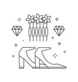 bridal heeled shoes icon in line art vector image