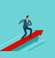 businessman running on growth graph success vector image