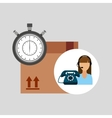 call centre woman working delivery time vector image vector image