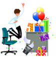cartoon happy man celebrating office christmas vector image vector image