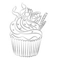 cartoon image of cupcake vector image vector image