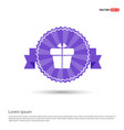 christmas gift box icon - purple ribbon banner vector image
