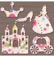 Cinderella decorations vintage on wooden vector image vector image